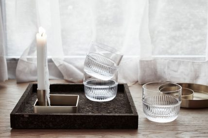 Candle holder and glasses by Rikke Malling