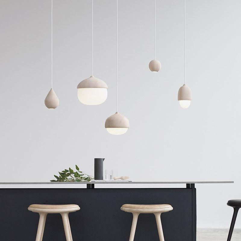 Terho Lamps - Natural wood shade and opal color glass - by Mater