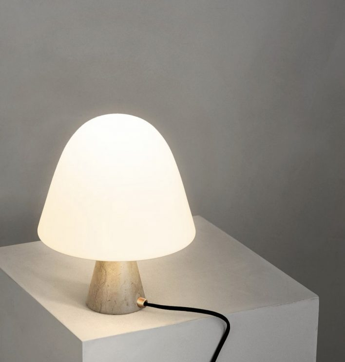Meadow lamp by Fredericia - Portuguese lime stone & opal mat glass shade